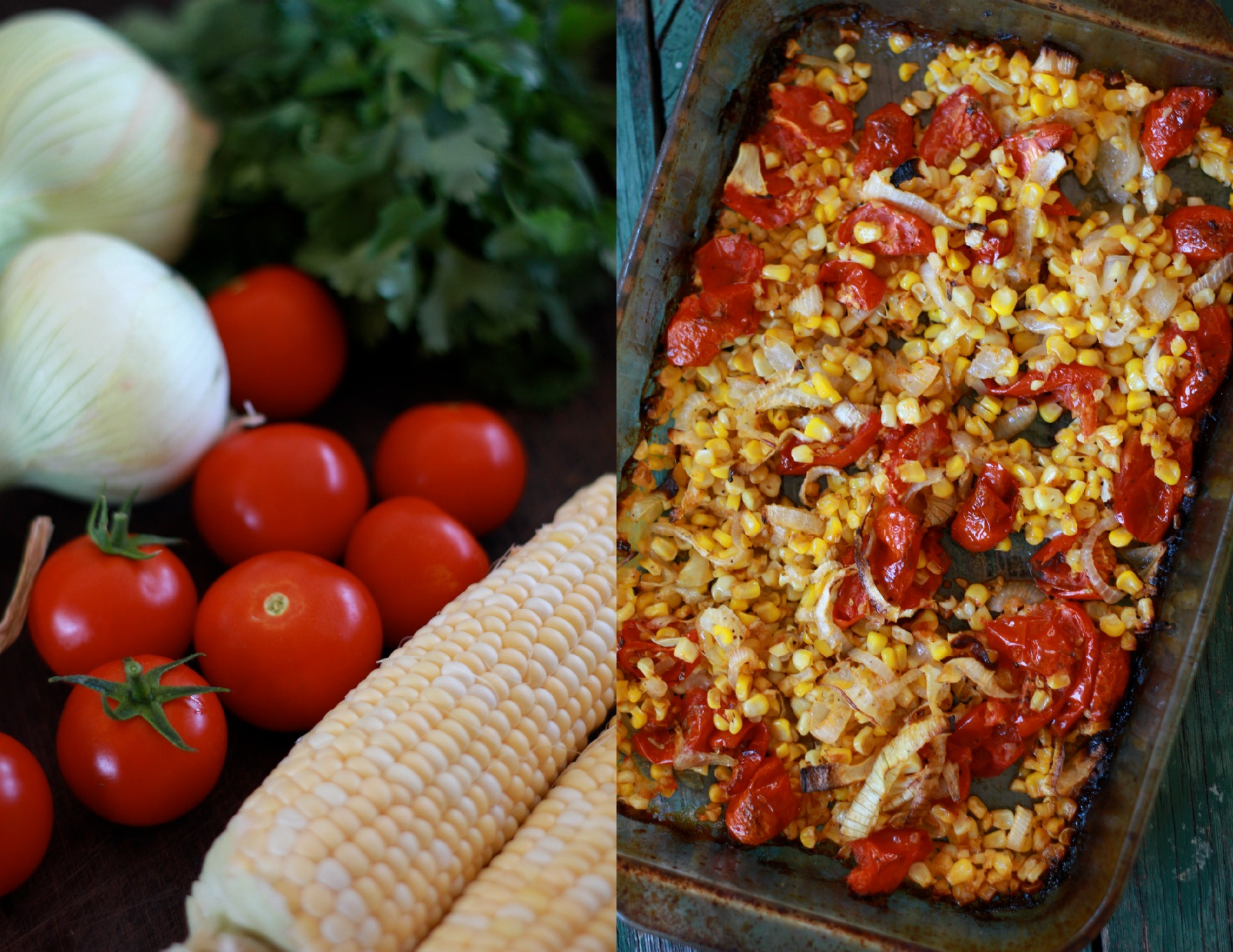 Roasted Corn, Tomato, Sweet Onion and Salmon Salad with Creamy Herb Dressing